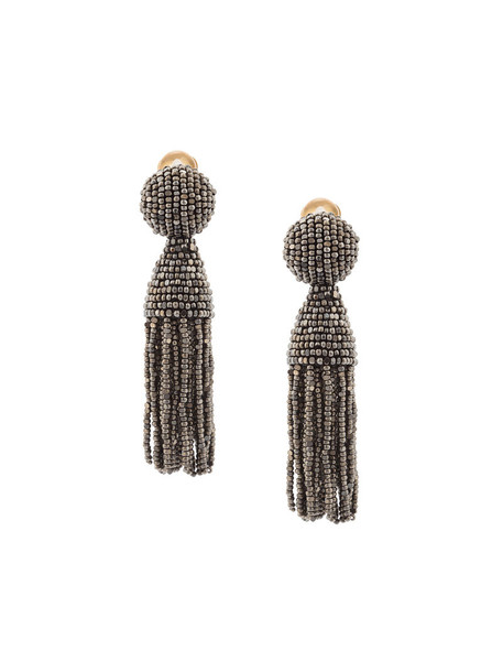 women beaded earrings grey metallic jewels