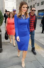 shoes,sandals,dress,blue,blue dress,maria menounos,midi dress,long sleeve dress,spring dress,spring outfits