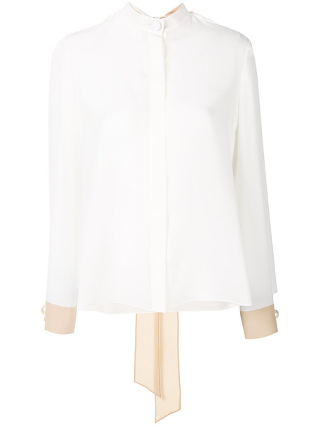 Fendi blouse women plastic white silk top