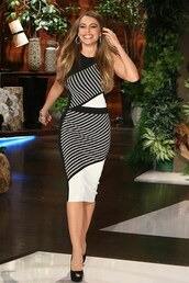 dress,bodycon,asymmetrical,sofia vergara,sandals,midi dress