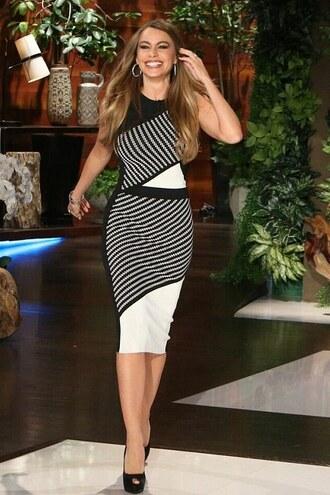 dress bodycon asymmetrical sofia vergara sandals midi dress