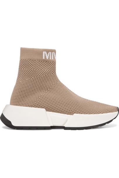 MM6 Maison Margiela - Logo-jacquard Ribbed Stretch-mesh Sneakers - Tan