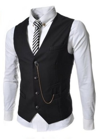 jacket tie vest chain white shirt