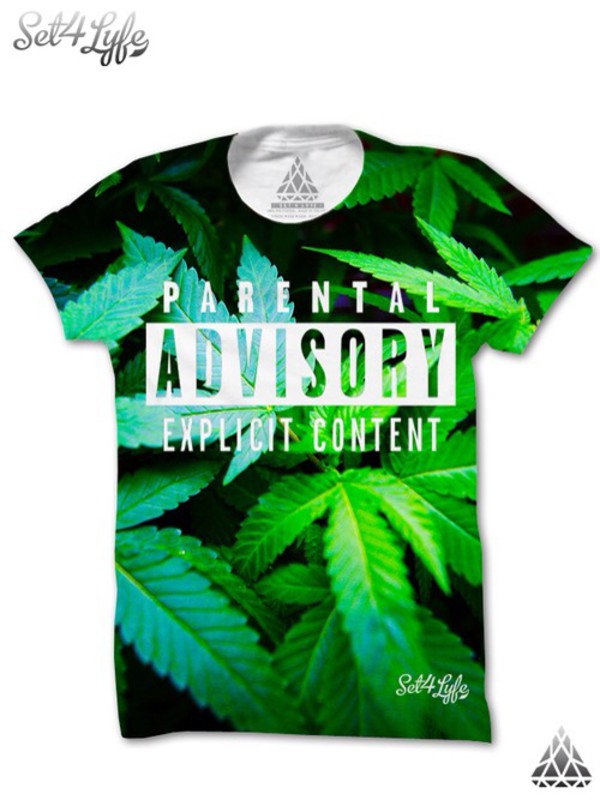t-shirt parental advisory explicit content marihuanna