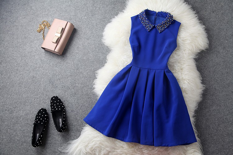 2013 autumn winter designer women's dresses yellow blue beading collar ball gown sleeveless fashion vintage brand event dress-in Dresses from Apparel & Accessories on Aliexpress.com