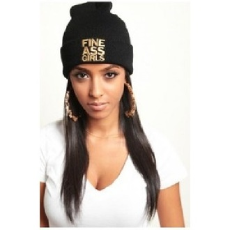 hat fine ass girls black beanie gold swag jewels