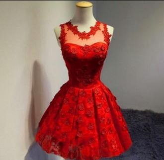 dress red dress see-through dress red party dress pretty cute prom