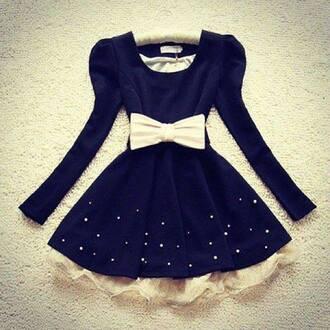 dress blue dress white pink lovely lovely dress bows