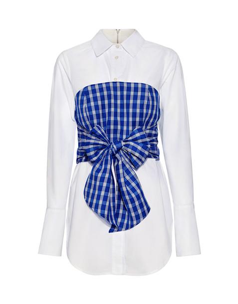 shirt white blue gingham top