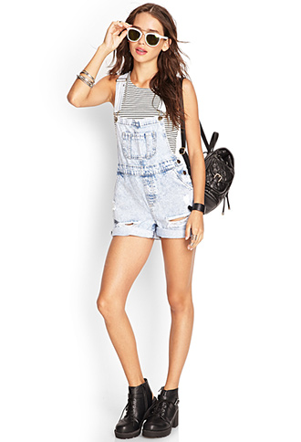 Distressed Overall Shorts | FOREVER 21 - 2000060632