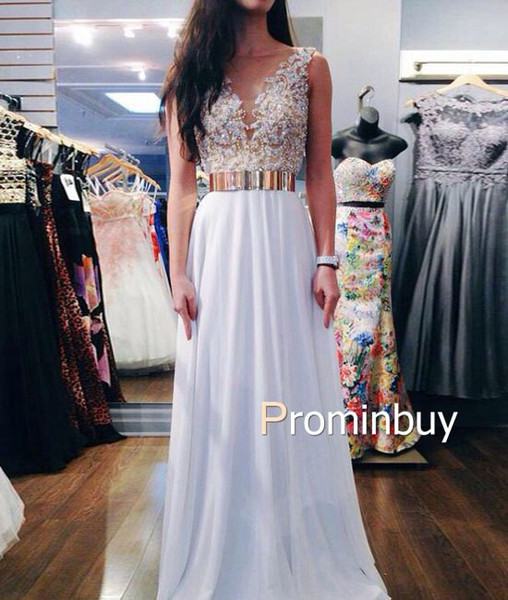 White A-line Round Neck gold belt Chiffon Long Prom Dress, Evening Dress