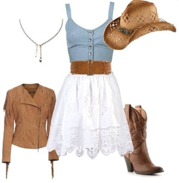 dress country country style cute cowgirl leather jacket cowgirl dress shoes jacket hat cowboy dress crop fringes white lace boots necklace cowboy boots waist belt polyvore skirt white skirt blouse cowgirl outfit country dress blue and white summer dress mini dress cowgirl boots fall outfits