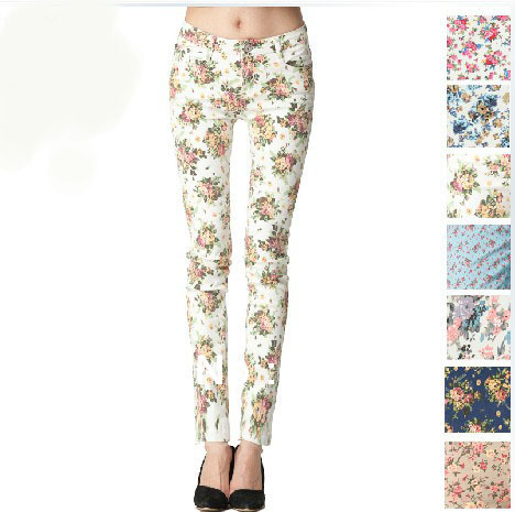 2013 Women vintage Slim floral cotton jeans casual flower print hot skinny straight denim pencil pants 111-in Jeans from Apparel & Accessories on Aliexpress.com