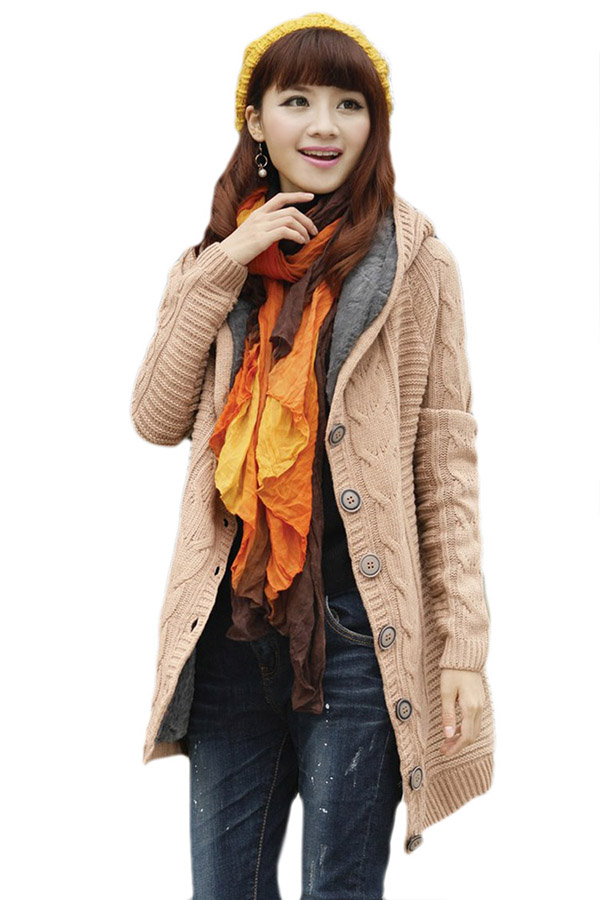 Stylish Ladies Lined Winter Warm Knitted Plain Sweater Coat