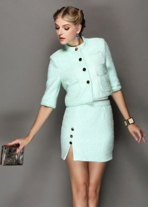 Green Woolen Two Piece Dress Suit