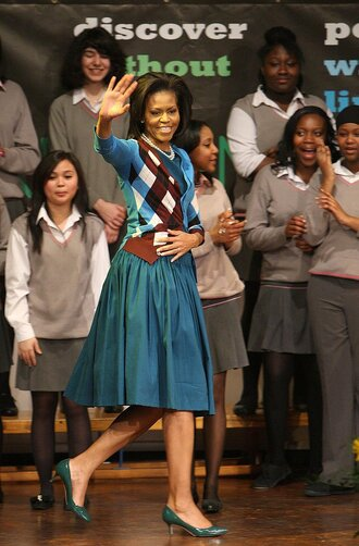 cardigan skirt fall outfits michelle obama pumps midi skirt first lady outfits