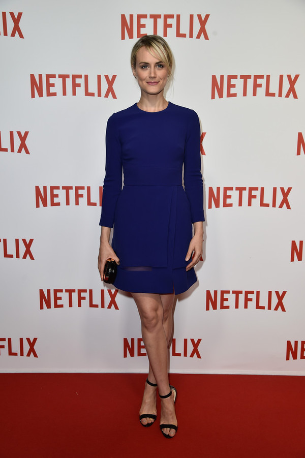 blue dress taylor schilling dress high heels sandals