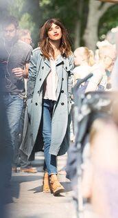 coat,trench coat,light blue,jeanne damas,french girl style