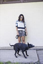 chicityfashion,top,shorts,sunglasses,shoes,bag,jewels