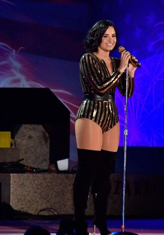 top bodysuit over the knee boots demi lovato stripes sequins sequins and stripes