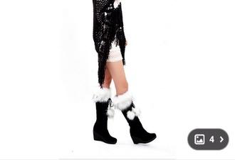 shoes wedges black wedges fur balls