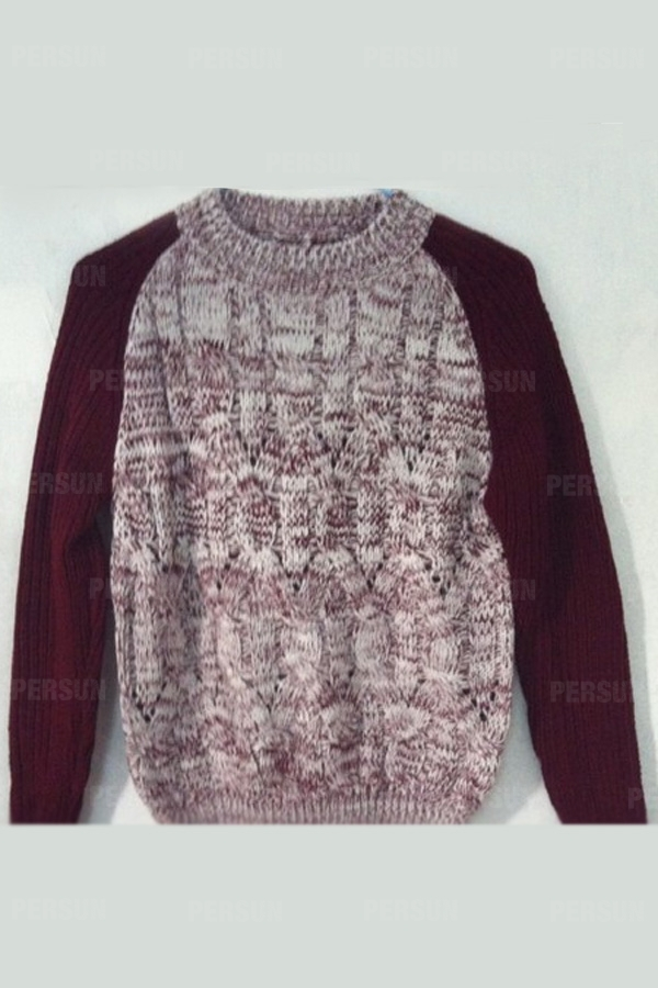 Round Collar Twisted Knitting Sweater [HT00028] - PersunMall.com