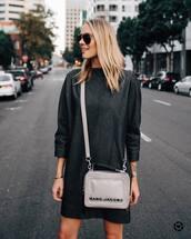 bag,crossbody bag,marc jacobs,mini bag,long sleeve dress,aviator sunglasses