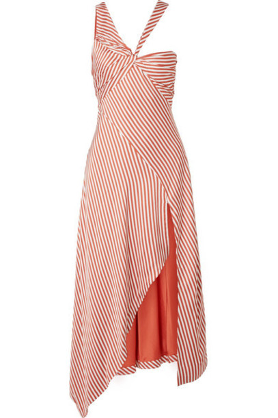 Jonathan Simkhai - Asymmetric Striped Sateen Dress - Brick