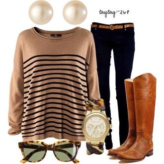 shirt long sleeves stripes black