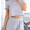 Short sleeve crop top with slim shorts suits -shein(sheinside)