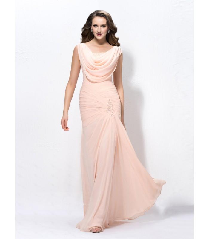 Glamouröses Meerjungfrau Wasserfallkragen aus Chiffon Abendkleid