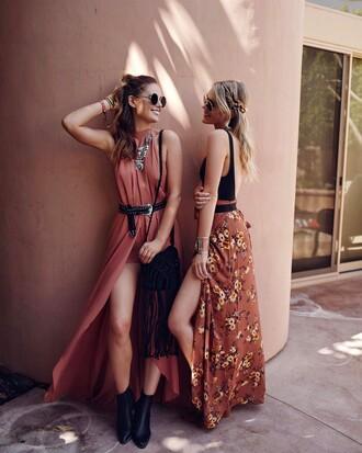 skirt tumblr slit skirt maxi skirt printed skirt dress pink dress belt boots black dress bodysuit necklace statement necklace