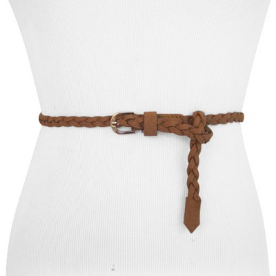 Brown Braided Super Skinny Belt for Women