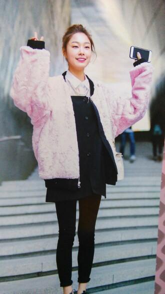 jacket fake fur furry coat furry jacket bomber jacket pink bomber jacket long bomber jacket pink fur coat cute innocent seoul black dress k-pop