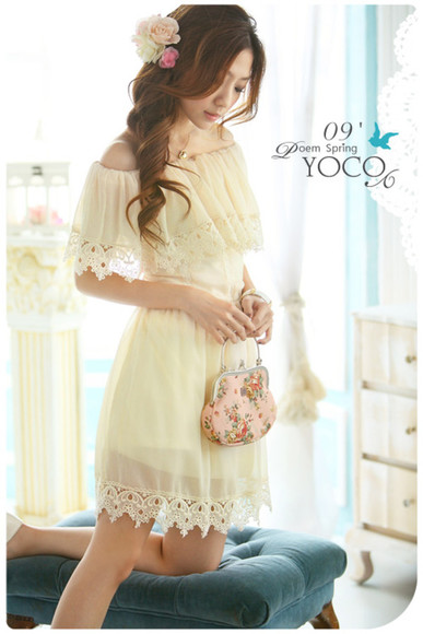 lace boatneck boat neck sheer chiffon off the shoulder yoco brown dress