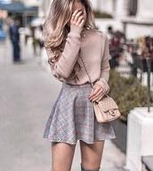 skirt,pink,pink plaid,plaid,pink shirt,plaid skirt