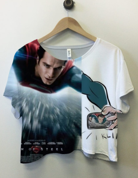 t-shirt clothes superman picture camera new super man fast movie lol movie superman movie crop tops city funny shirt funny tshirt shirt blouse top white red blue blurr klik