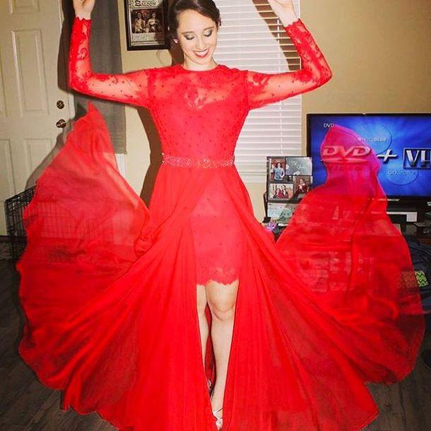 Dress Sherri Hill High Low Dress Lace Dress Red Dress Prom