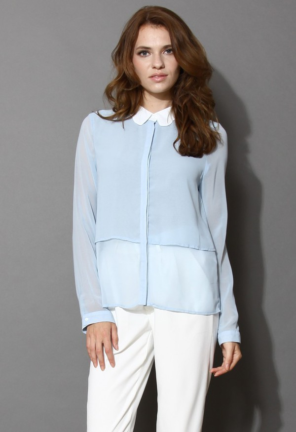 top chicwish scrolled collar blouse