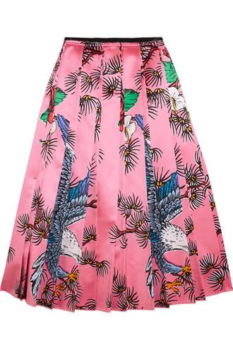 skirt midi skirt pleated midi silk pink satin