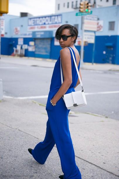 where did u get that blogger jumpsuit pajamas bag jewels