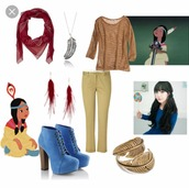 jeans,brown,flowy,boho,spring,peter pan,scarf,shirt,long sleeves,feathers,shoes,heels