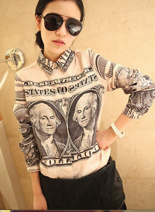 blouse dollar money dope cute trill swag shirt sweater Dopefemme