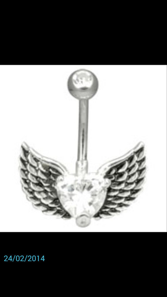 jewels silver stone heart wings bellybutton ring