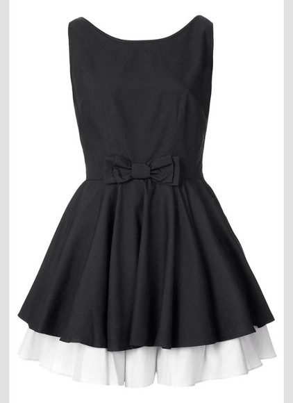dress white pretty black black and white bow