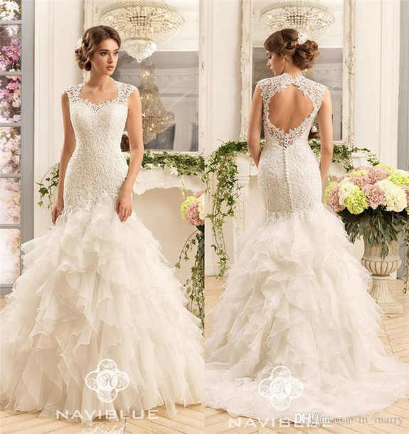 Dress Naviblue 2017 Wedding Dresses Cascading Ruffles Skirt