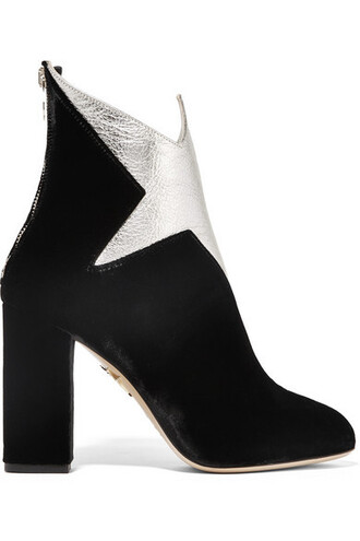 metallic boots ankle boots leather black velvet shoes