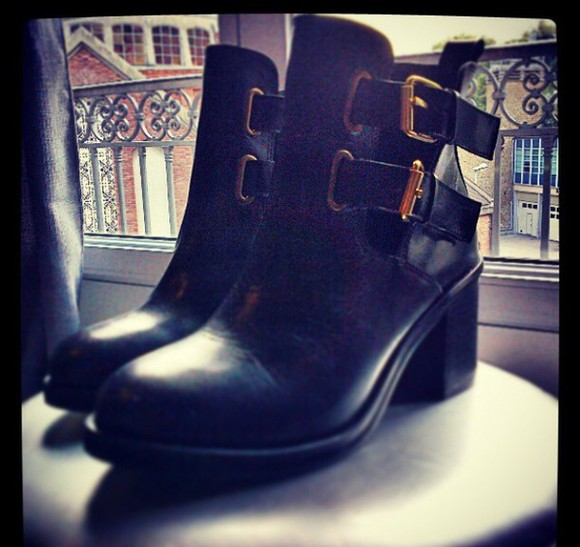 shoes black boots boots cut out ankle boots
