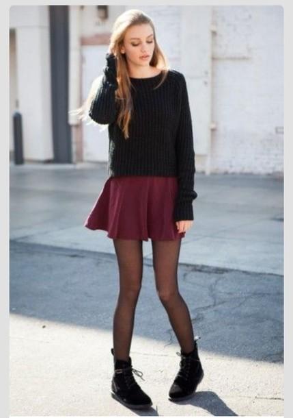pants, skirt, burgundy skirt, skater skirt, blouse, tights ...