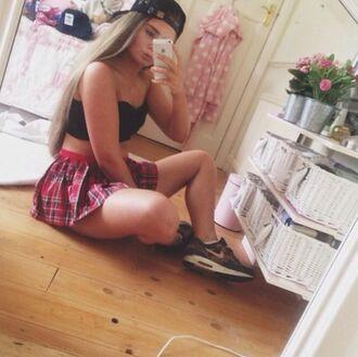 skirt tartan tartan skirt plaid skirt mini skirt school girl sexy black crop top crop tops bralette shoulder off